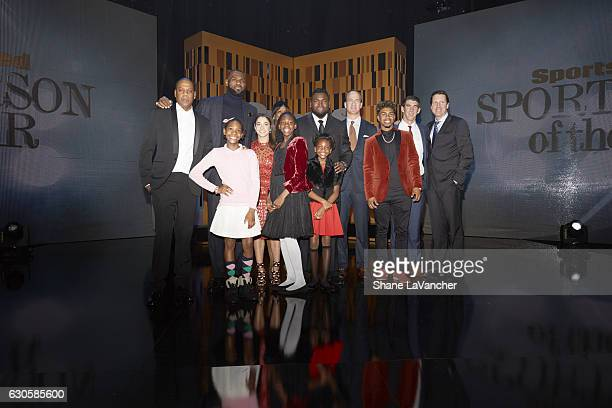 SI Sportsman of the Year Group photo of guests and honorees rapper JayZ Cleveland Cavaliers forward LeBron James former Olympic runner Jackie...