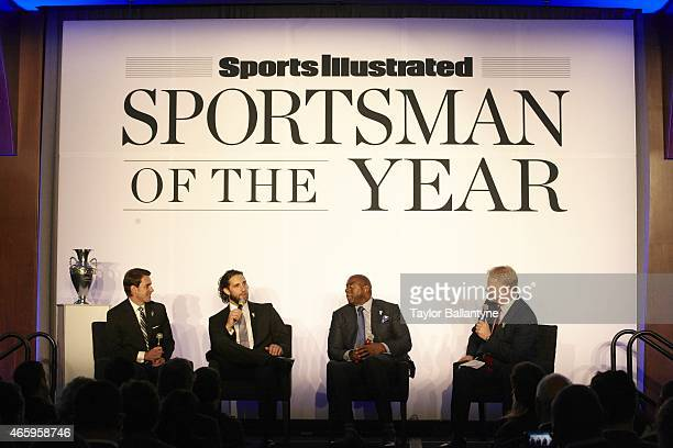 SI Sportsman of the Year NBA Hall of Famer and Los Angeles Dodgers partner Earvin Magic Johnson and San Francisco Giants pitcher Madison Bumgarner...