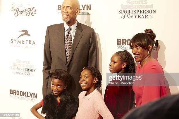 SI Sportsman of the Year NBA Hall of Famer Kareem AbdulJabbar Sportskid honorees and sisters Brooke 9 years old Rainn and Tai Sheppard and former...