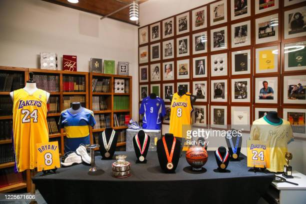 Sports memorabilia is displayed at a press preview for sports legends featuring Kobe Bryant, FIFA and Olympic Medals at Julien's Auctions on May 18,...