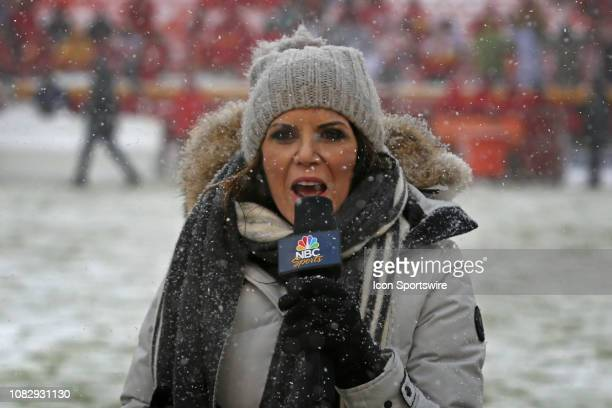 Sports Michele Tafoya reports in the snow before an AFC Divisional Round playoff game game between the Indianapolis Colts and Kansas City Chiefs on...