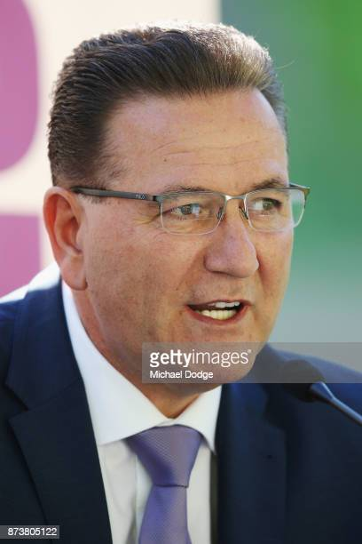 Sports Minister John Eren speaks to media during a Melbourne Storm NRL media announcement at AAMI Park on November 14 2017 in Melbourne Australia NRL...