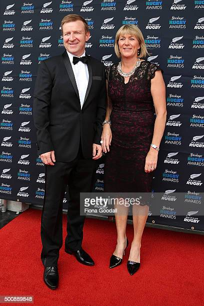 Sports Minister Jonathan Coleman with wife Sandra during the 2015 Steinlager Rugby Awards on December 11 2015 in Auckland New Zealand