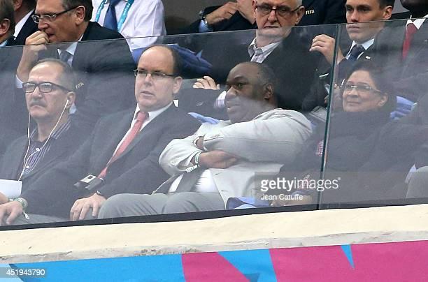 Sports Minister of Brazil Aldo Rebelo Prince Albert II of Monaco and President of Gabon Ali Bongo Ondimba attend the 2014 FIFA World Cup Brazil Semi...