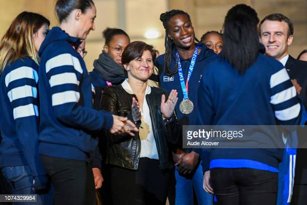 Sports minister Roxana Maracineanu and french president Emmanuel Macron with the french handball team during the Reception at the Elysee in honor of...