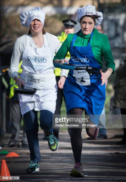 Sports Minister Tracey Crouch and Baroness Bertin take part in the annual Rehab Parliamentary Pancake Race in which MPs Lords and members of the...