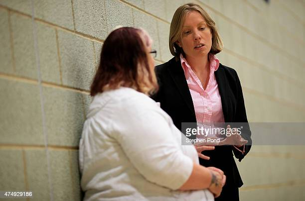Sports Minister Tracey Crouch MP talks to visitors during her visit the Sport England 'Fit for Fun' project at the University of East Anglia on May...