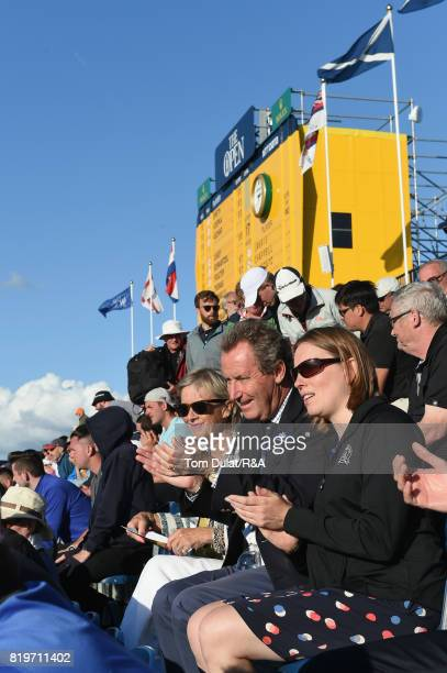 Sports Minister Tracey Crouch sits in the 18th grandstand during the first round of the 146th Open Championship at Royal Birkdale on July 20 2017 in...