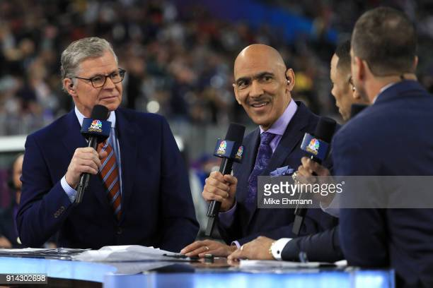 Sports personalities Dan Patrick and Tony Dungy speak prior to Super Bowl LII between the New England Patriots and the Philadelphia Eagles at US Bank...