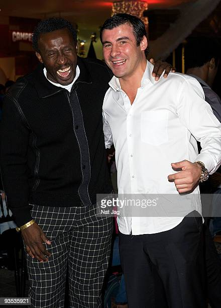 Sports personalities Linford Christie and Joe Calzaghe attend the opening of the new Ed Hardy store at Westfield on December 1, 2009 in London,...