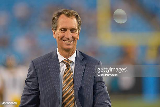 Sports personality Cris Collinsworth during an NBC Sunday Night Football broadcast between the Carolina Panthers abd the Pittsburgh Steelers at Bank...