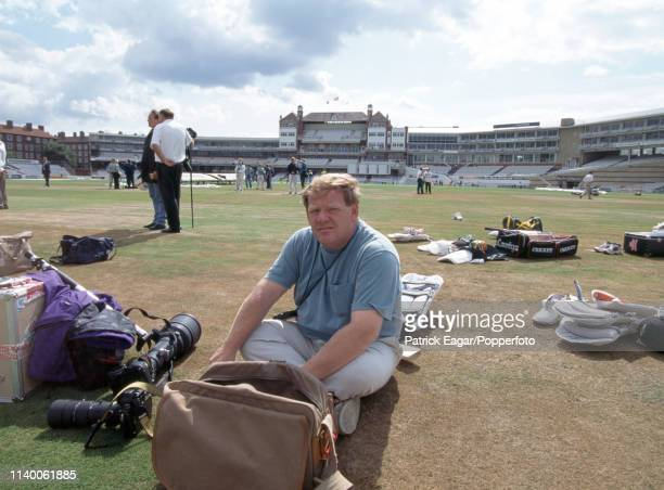 Sports photographer Frank Coppi preparing to work during a practice session before the 3rd Test match between England and South Africa at The Oval,...