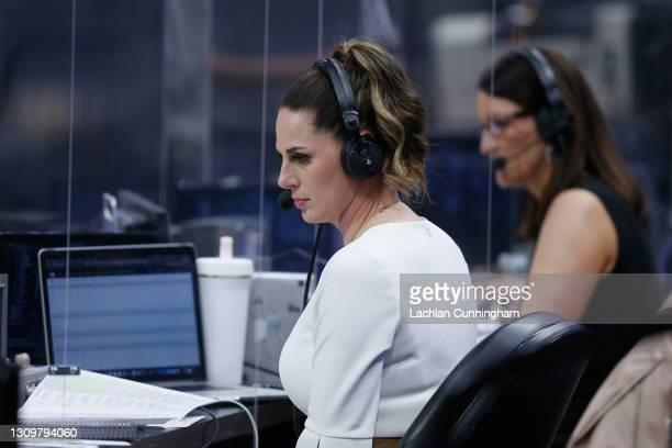 Sports play-by-play announcers Katie Hunter and Krista Blunk call the game between the Sacramento Kings and the Cleveland Cavaliers at Golden 1...