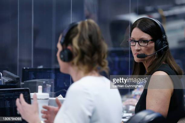 Sports play-by-play announcers Krista Blunk and Katie Hunter call the game between the Sacramento Kings and the Cleveland Cavaliers at Golden 1...