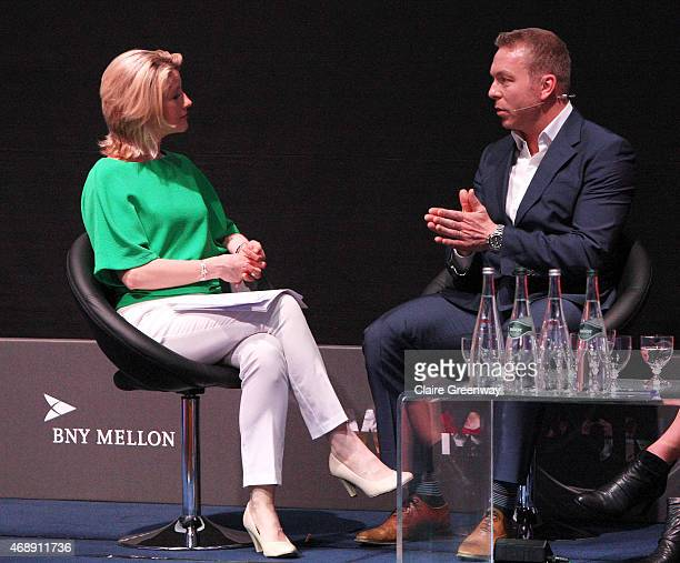 Sports Presenter Jacqui Oatley speaks to Sir Chris Hoy MBE as she chairs a panel discussion at the Womenomics conference hosted by BNY Mellon and...