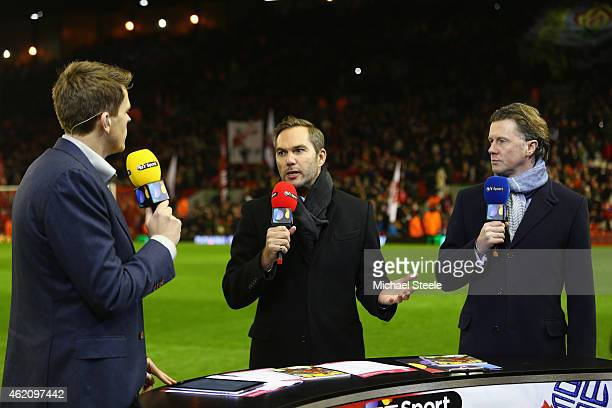 BT sports presenter Jake Humphrey alongside pundits Jason McAteer and Seve McManaman during the FA Cup fourth round match between Liverpool and...
