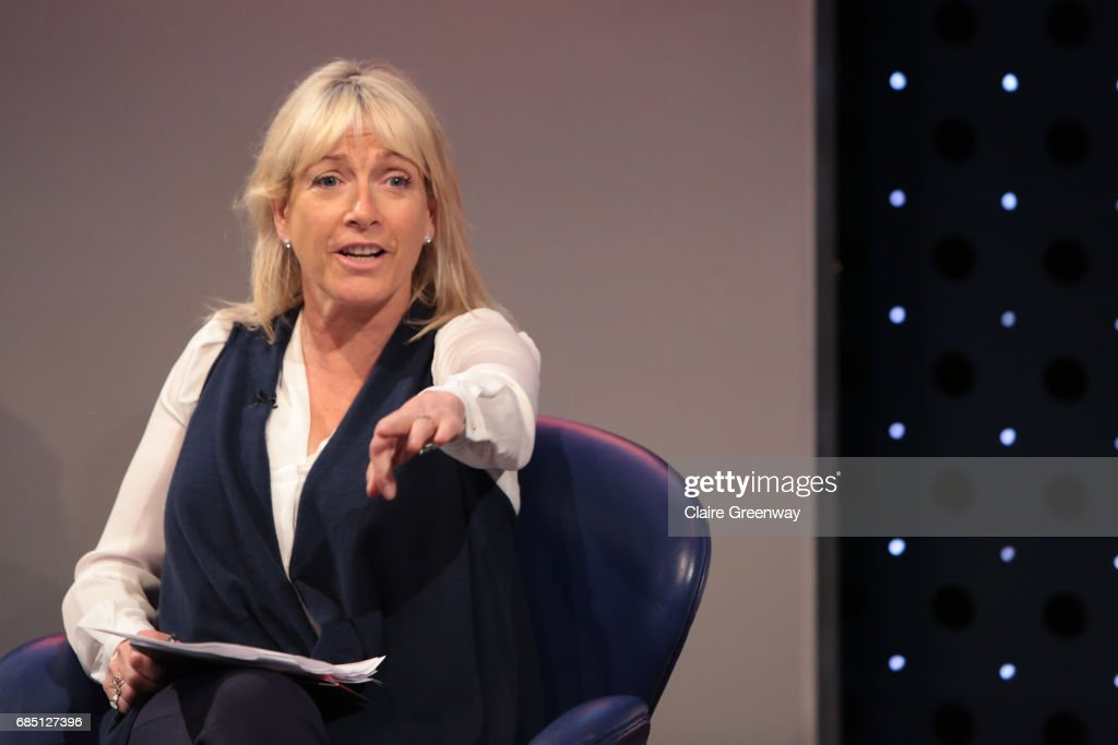 Sports Presenter Jill Douglas moderates a discussion on stage at The Sport Industry Breakfast Club, supported by Deltatre and hosted by BT Sport, at the BT Centre on May 19, 2017 in London, England.