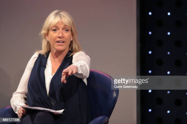 Sports Presenter Jill Douglas moderates a discussion on stage at The Sport Industry Breakfast Club supported by Deltatre and hosted by BT Sport at...