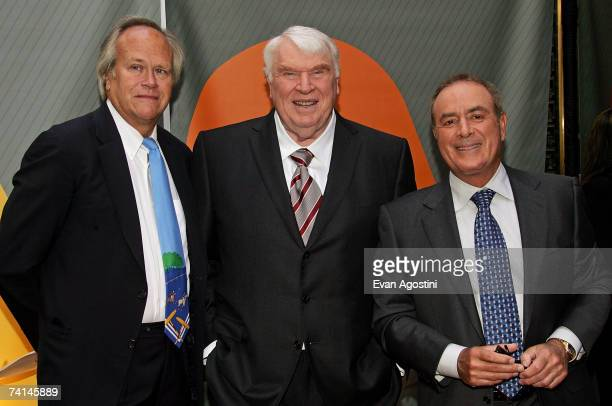 NBC Sports' president Dick Ebersol John Madden and Al Michaels attend the NBC Upfronts at Radio City Music Hall on May 14 2007 in New York City