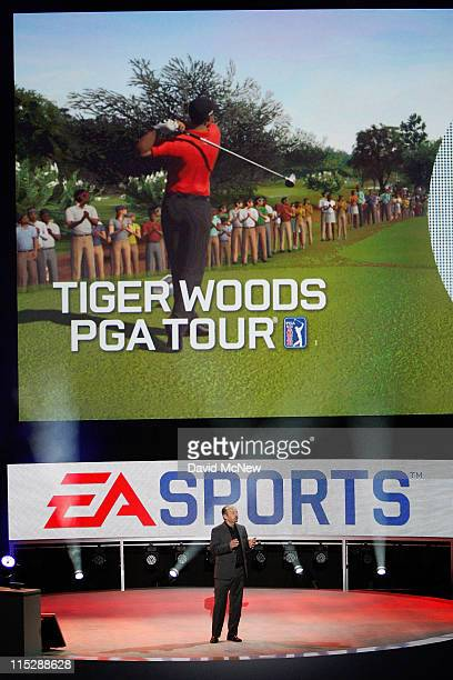 Sports president Peter Moore demonstrates the Tiger Woods PGA Tour game at the Electronic Entertainment Expo on June 6, 2011 in Los Angeles,...