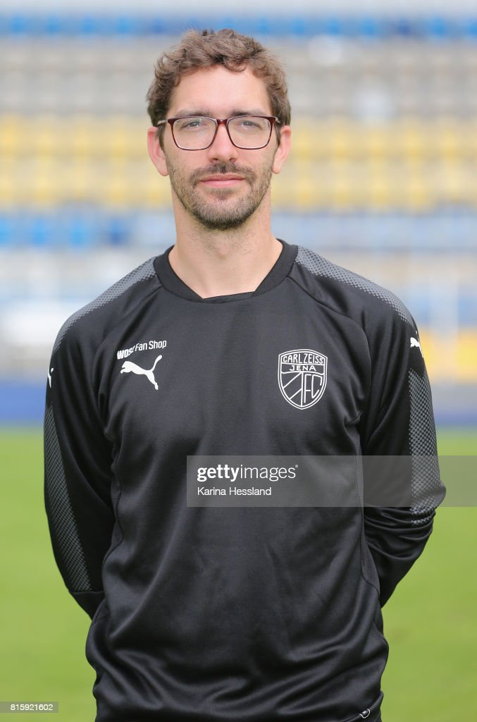 Sports psychologist Peter Schneider of Carl Zeiss Jena poses during the team presentation at on July 17, 2017 in Jena, Germany.