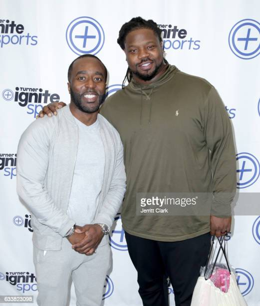 Sports publicist Denrick Romain and NFL player Damon Harrison attend Turner Ignite Sports Luxury Lounge on February 4 2017 in Houston Texas