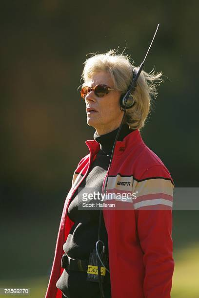 Sports reporter Judy Rankin works during the second round of the Tour Championship at East Lake Golf Club on November 3 2006 in Atlanta Georgia