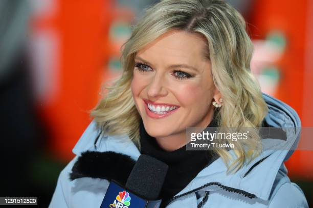 Sports reporter Kathryn Tappen reports from the stands before a game between the Buffalo Bills and the Pittsburgh Steelers at Bills Stadium on...