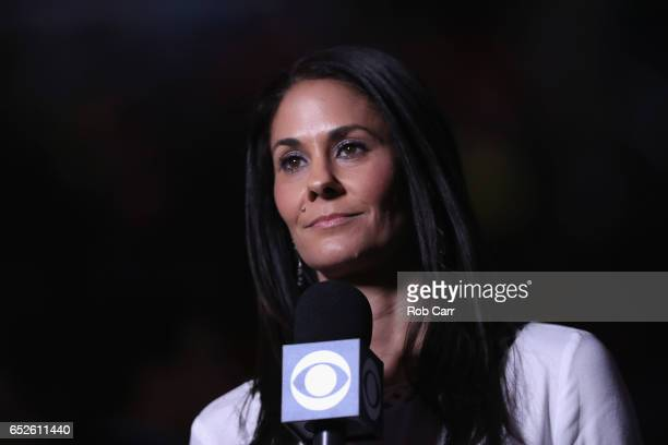 Sports reporter Tracy Wolfson appears on camera during the Big Ten Basketball Tournament Championship game between the Wisconsin Badgers and Michigan...