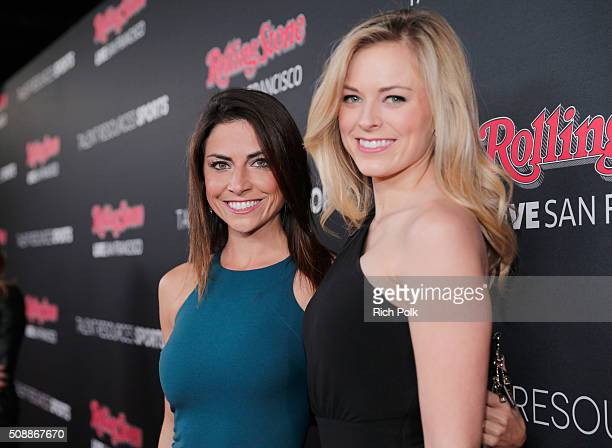 Sports reporters Jenny Dell and Jamie Erdahl attend Rolling Stone Live SF with Talent Resources on February 6 2016 in San Francisco California