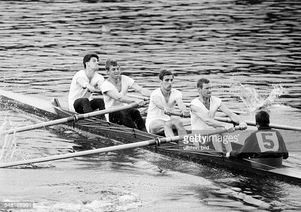 sports rowing International Rowing Regatta 1966 in Duisburg rowboat coxed four men DDuisburg DDuisburgWedau Rhine Ruhr area North RhineWestphalia