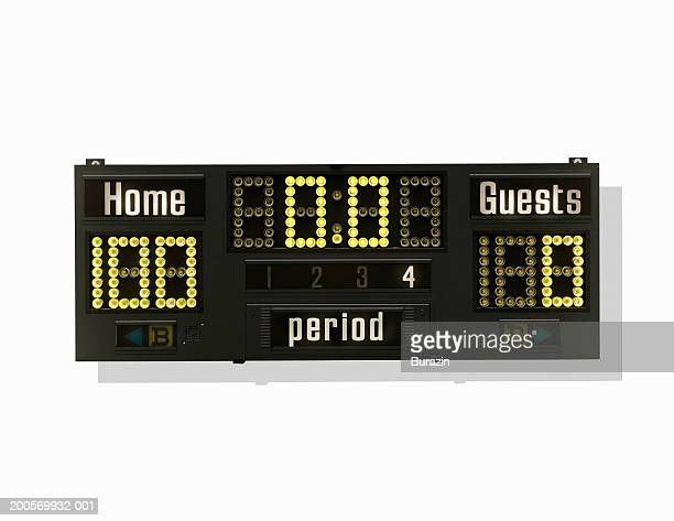 Sports scoreboard on white background