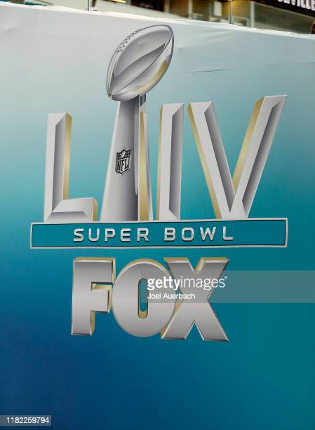 Sports set up an area at Hard Rock Stadium with logos for Super Bowl LIV in the player tunnel prior to the preseason NFL game between the Miami...