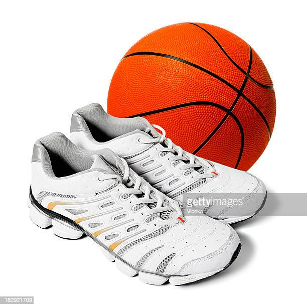 sports shoes and basketball - basketball shoe stock photos and pictures