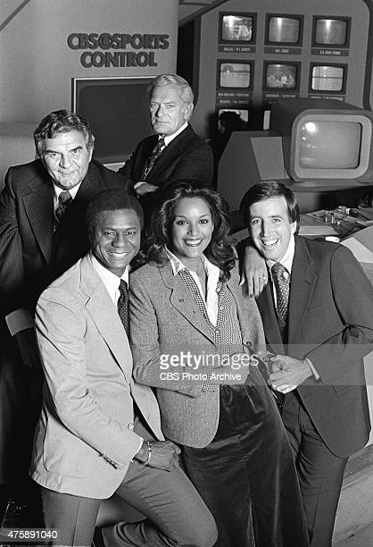 TODAY sports show featuring clockwise from top left Jimmy Jimmy the Greek Snyder Jack Whitaker Brent Musburger Jayne Kennedy and Irv Cross Image...