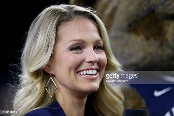 Sports sideline reporter Allie LaForce reacts during a practice session for the 2016 NCAA Men's Final Four at NRG Stadium on April 1 2016 in Houston...