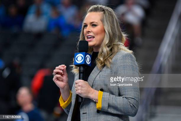 Sports sideline reporter Jamie Erdahl looks on during the CBS Sports Classic between the UCLA Bruins and the North Carolina Tar Heels on December 21...