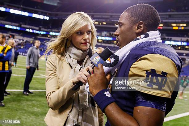 Sports sideline reporter Kathryn Tappen interviews Everett Golson of the Notre Dame Fighting Irish after the game against the Purdue Boilermakers at...