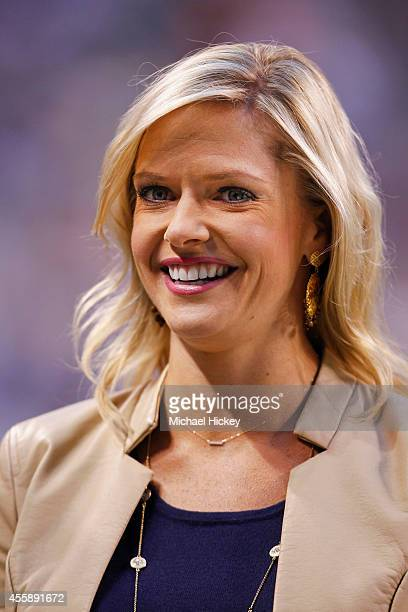 Sports sideline reporter Kathryn Tappen seen before the Notre Dame Fighting Irish vs Purdue Boilermakers game at Lucas Oil Stadium on September 13,...