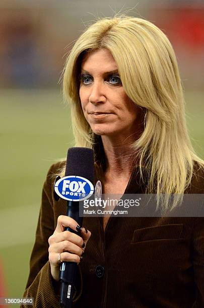 Sports sideline reporter Laura Okmin looks on during the game between the Minnesota Vikings and the Detroit Lions at Ford Field on December 11 2011...