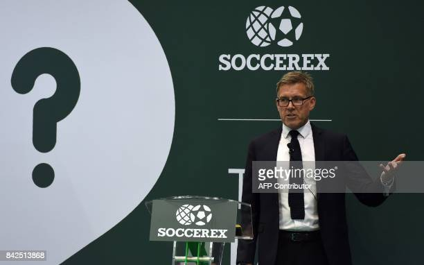 Sports Sleep Coach Nick Littlehales speaks during a panel discussion at the Soccerex Global Convention 2017 in Manchester northwest England on...