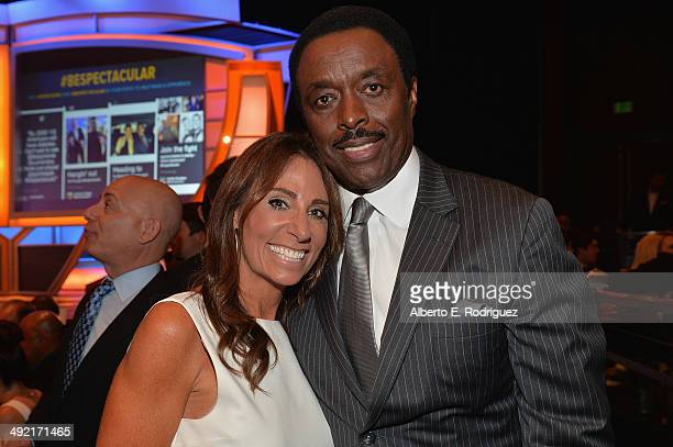 Sports Spectacular Executive Beth Moskowitz and TV personality Jim Hill attend the 2014 Sports Spectacular Gala at the Hyatt Regency Century Plaza on...
