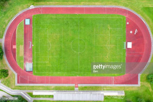 sports stadium, aerial view - track and field stadium stock pictures, royalty-free photos & images