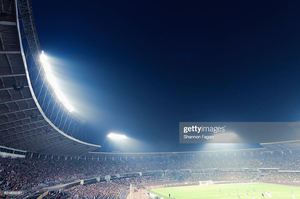 Sports stadium arena game at night : Bildbanksbilder