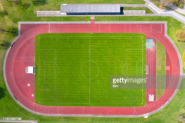 sports stadium viewed from above - track and field stadium stock pictures, royalty-free photos & images