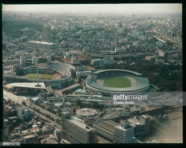 Sports stadiums The National Stadium and the Jingu Baseball Stadium near an amusement park November 1972 Tokyo Japan