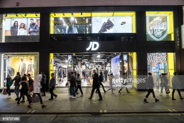 JD sports store seen in London famous Oxford street Central London is one of the most attractive tourist attraction for individuals whose willing to...