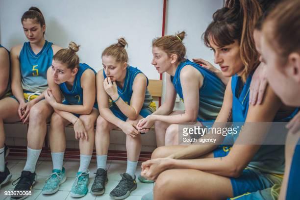 Sports team in locker room