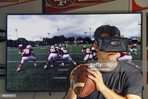 Portrait of Danny Belch modelling STRIVR virtual reality headset during photo shoot at STRIVR Lab Developed at Stanford in 2014 the product replays...