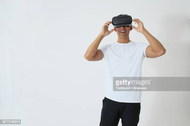 sports trainer young man.coach training on vr exercise - 仮想空間 ストックフォトと画像